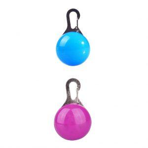 2pcs LED Clip Fibbia per cani Pet Supplies Night Decor Bulb Collar (rosa e