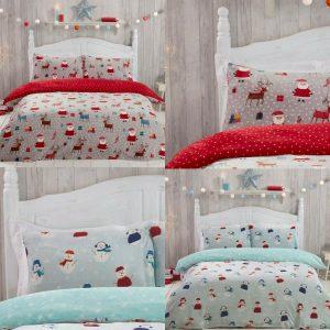 Sleepdown Santa Fleece Xmas Reversible Bedding Duvet Cover Set & Pillowcase Set