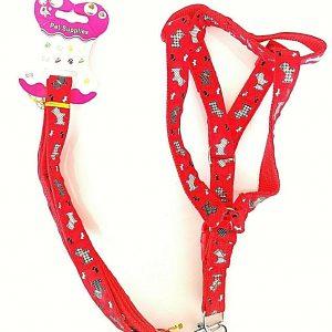 Pet supplies pettorina con fantasia in nylon e stoffa, regolabile colore rosso
