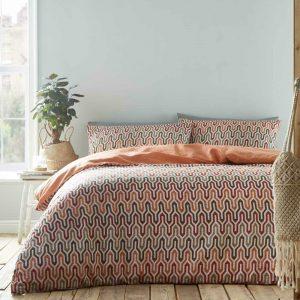 Orange Duvet Covers Ikat Geometric Ethnic Reversible Quilt Cover Bedding Sets